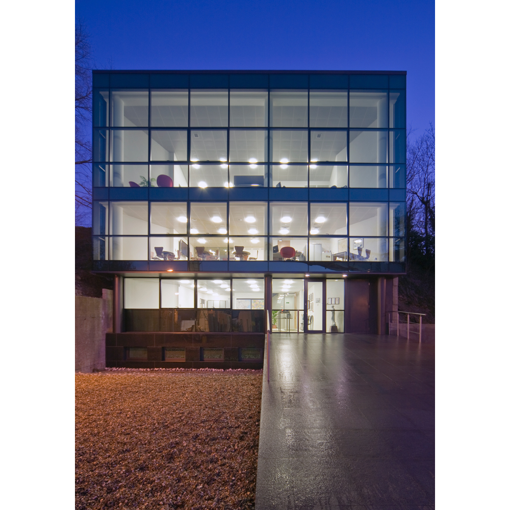 Office Building: Front Elevation at Dusk